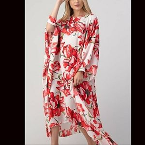 Plus Size Red White Floral Print Poncho Dress